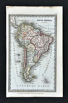 1834 Starling Map - South America Brazil Argentina Colombia Peru Chile Patagonia