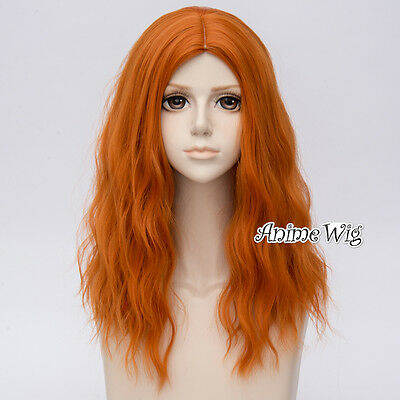 Long Curly 50CM Orange Hair Harajuku Lolita Women Ombre Cosplay Wig + Wig Cap