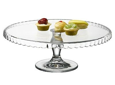 Pasabahce Footed Clear Glass Cake Stand Patisserie 32cm Diameter Party NEW