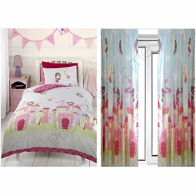 "Fairy Castle Double Duvet Cover Set, Lined Curtains 72"" Kids Girls Bedroom"