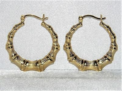 9Ct Yellow Gold & Silver Bamboo Creole Hoop Ladies Earrings