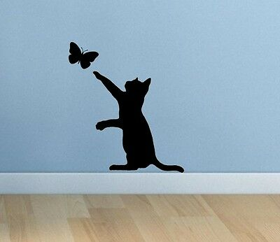 Cat butterfly black silhouette vinyl sticker. Choice of 15 colours!