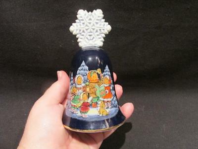 Avon 1987 Cobalt Christmas Bell Snowflake Handle Children Caroling