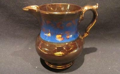 Copper Luster with Blue Band Antique Cream or Milk Pitcher Likely Sunderland