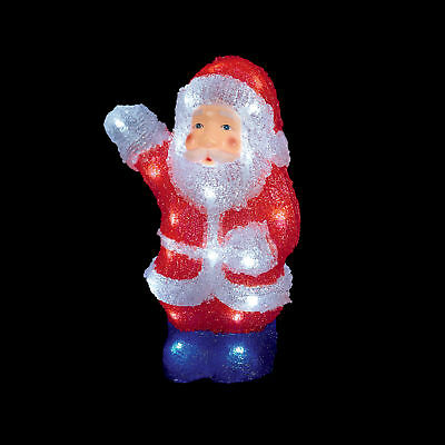 Acrylic Christmas 30cm Santa with LED lights indoor Outdoor Garden Decoration