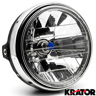 8'' H4 ABS + Metal Halogen Bulb Round Motorcycle Chrome Headlight 55W DC12V NEW