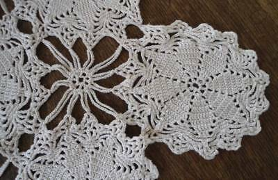 True Vintage Crochet Lace Table Runner Tray Doily Ecru Cotton Star Medallion 22""