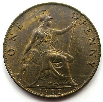 1902 Edward VII 1d One Penny Coin Higher Grade - Great Britain