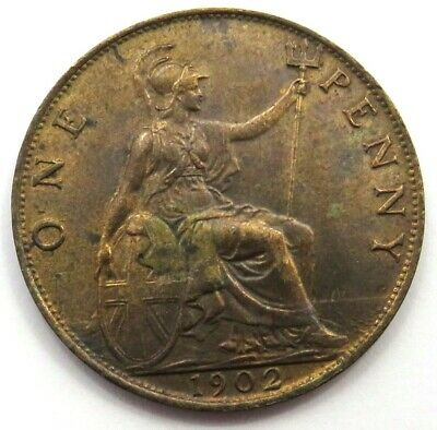 1902 Edward VII 1d One Penny Coin Higher Grade - Great Britain.