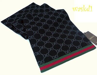 GUCCI black & gray SOLANGE Original GG red & green WEB wool scarf NWT Authentic!