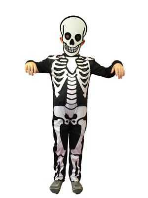 CHILDRENS SKELETON COSTUME & MASK BOY GIRL KIDS HALLOWEEN FANCY DRESS 3-6 yr old
