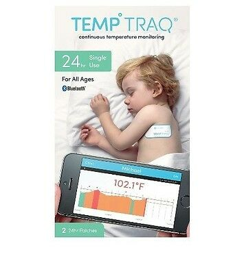 2 PACK Temp Traq Temperature Tracking 24hr Patches Bluetooth Thermometer 04/2017