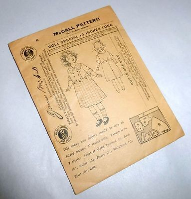 """Antique 1920's McCall 14"""" Girl Doll Dress Pattern Oliver Twist Style No. 5956"""