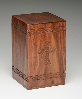 Affordable Rosewood Cremation Urn w/ Cross - 2nd Quality - Bargain Price!