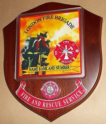 London Fire Brigade wall plaque personalised free of charge.