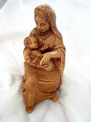 VINTAGE Art Pottery Abbey Press 1974 Seated Madonna and Child