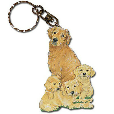 Golden Retriever Wooden Dog Breed Keychain Key Ring