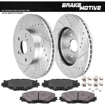 Front Drilled And Slotted Brake Rotors And Ceramic Pads 2006 - 2015 Lexus IS250