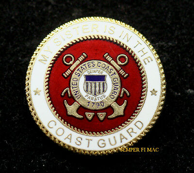 My Sister Is In The Us Coast Guard Seal Lapel Hat Pin Up Mom Dad Graduation