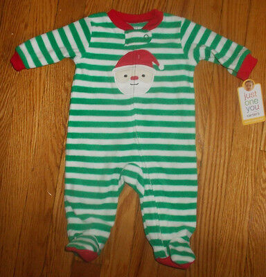 Baby Christmas Green/White One-Piece Pajamas With Santa 3M Just One You Carter's