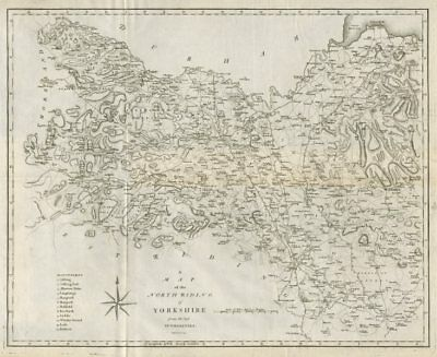 """""""A map of the North Riding of Yorkshire"""" by John Cary. County map 1789 old"""