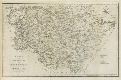 """""""A map of the South part of the West Riding of Yorkshire…"""" by John CARY 1789"""