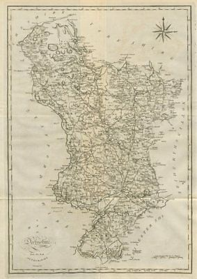 """""""A map of Derbyshire from the best authorities"""". County map. CARY 1789 old"""