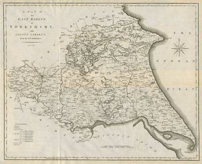 A map of the East Riding of Yorkshire with Ainsty Liberty by John CARY 1789