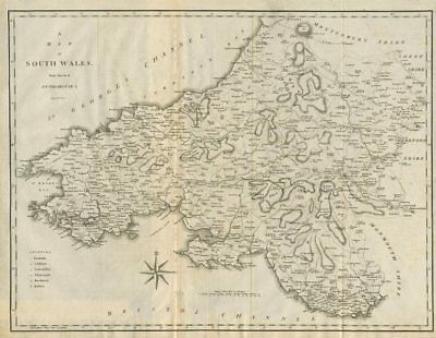 """A map of South Wales from the best authorities"". CARY 1789 old antique"