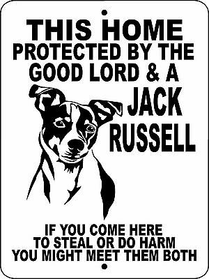 "JACK RUSSELL TERRIER DOG SIGN,9"" x 12"" ALUMINUM,Security Dog Sign,GLJR"