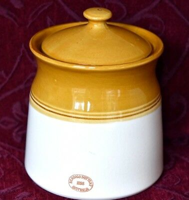Bendigo Pottery Canister 15 Cms- Cream & Heritage Brown.