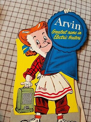 Very Cool Nos Arvin Heating Ac Advertising Cardboard Lady Never Used Foldout