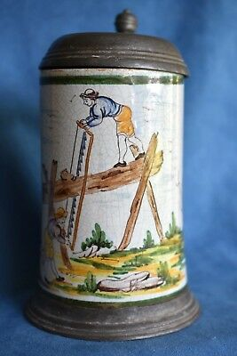 Signed HR 18th Century Antique THUERINGEN German FAIENCE Occupational Beer Stein