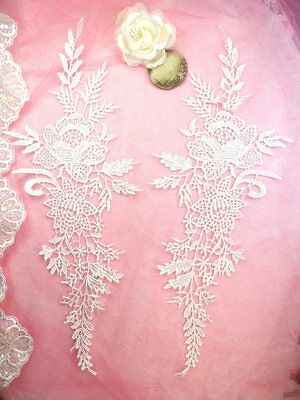"Embroidered Applique White Romantic Rose Floral Venice Lace MirrorPair 16""(DH83)"