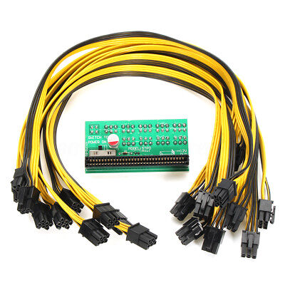 DPS-1200FB/QB A Power Supply Breakout Board & 10 Cable 6 pin for Ethereum Mining