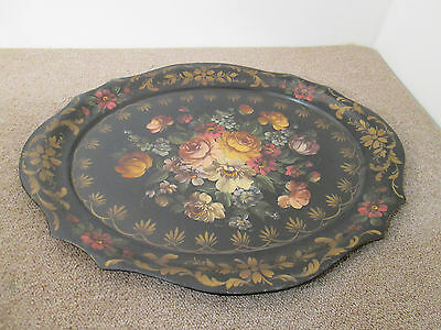COL CS:      Hand Painted Tole Tray on Stand