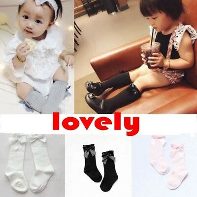 0-4 Year Toddler Kid Baby Girl Knee High Long Socks Bow Cotton Casual Stockings