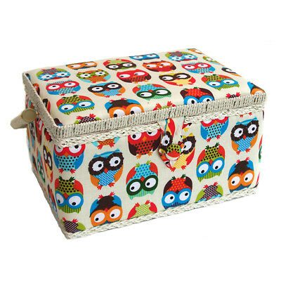 Sewing Online FM-011 | Owl Printed Sewing Basket | Multi | 26 x 18.5 x 15cm
