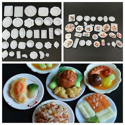 33Pcs/Set Dollhouse Miniature 1:12 Kitchen Plastic Dish Plate Tray Mold Kids Toy