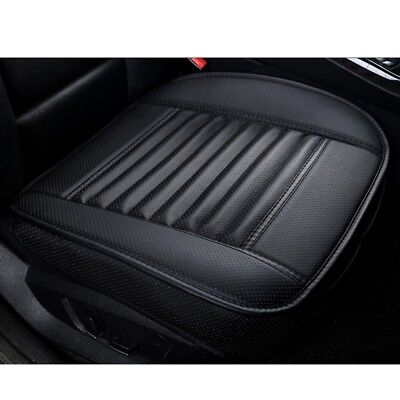 Negro PU Cuero Bambú Charcoal Coche Asiento Cushion Chair Cover Pad Proteger Mat