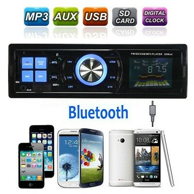 1Din Car Stereo FM Radio SD/USB/AUX Bluetooth MP3 Player With Remote Control New