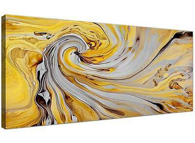 Mustard Yellow and Grey Spiral Swirl - Abstract Canvas  - 120cm Wide - 1290