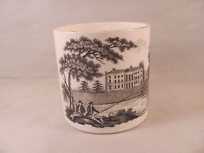 Antique 19thC Black Transferware Cann Small Child Mug Men Fishing River 2.5 in
