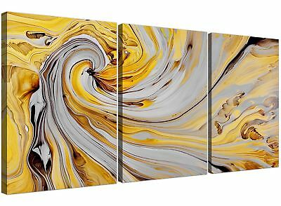 Mustard Yellow And Grey Spiral Swirl - Abstract Canvas Multi 3 Piece - 3290
