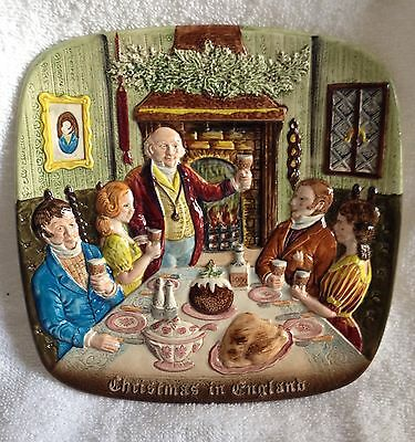 Royal Doulton 3D CHRISTMAS IN ENGLAND Dinner 1972 Plate 8x8 1st ed BESWICK EUC