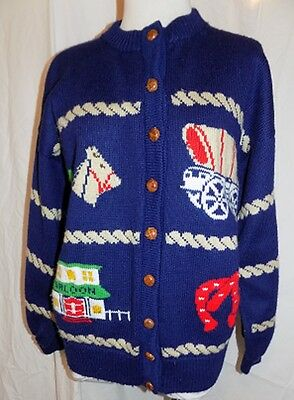 Vintage Hand Knit Wool Sweater Old West Cowboy Western Theme