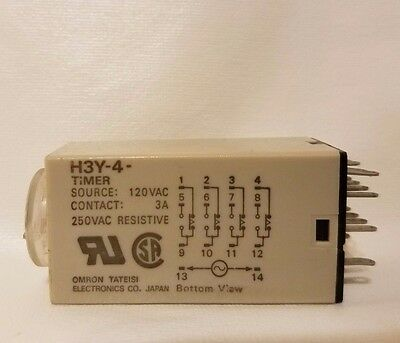 Omron H3Y-4 Timer 100-120Vac 30second 4 pole changeover