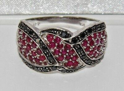 Stunning 9ct White Gold Ruby & Black Diamond Large Chunky Cocktail Ring - size P