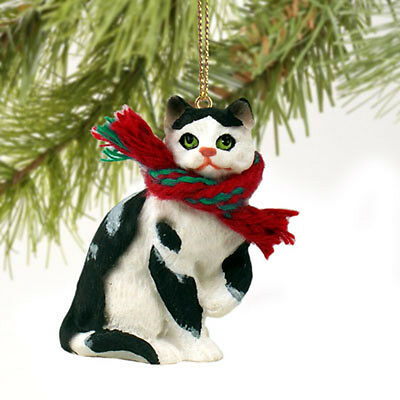 Black & White Shorthair CAT Tiny One Miniature Christmas ORNAMENT
