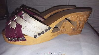 VINTAGE 1940'S HAND CARVED WOOD TROPICAL TIKI SHOES  Womens Hawaiian 7